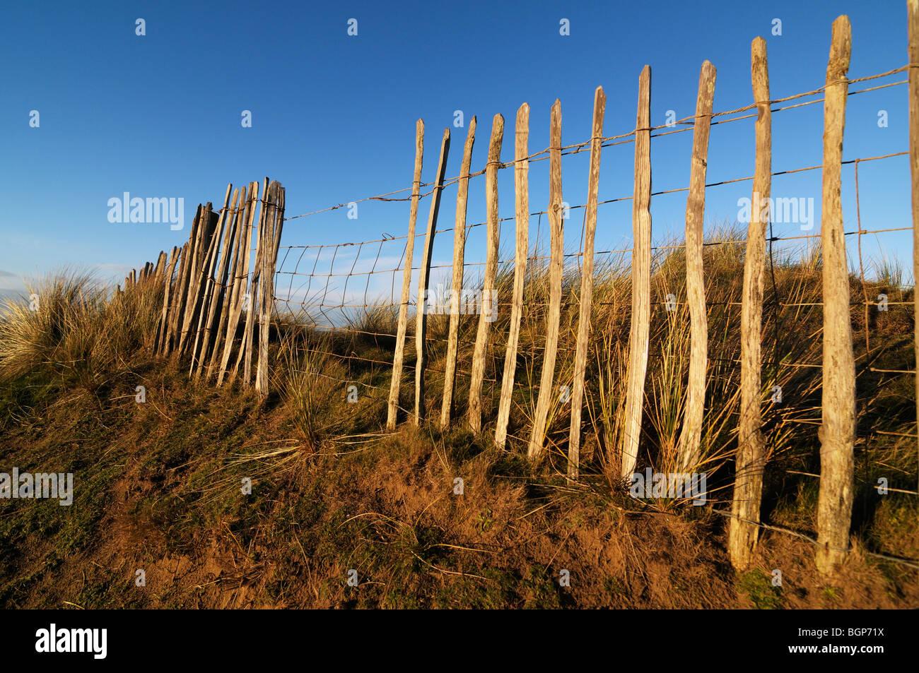 Traditionelle gespaltener Kastanie Zaun vor blauem Himmel Stockbild