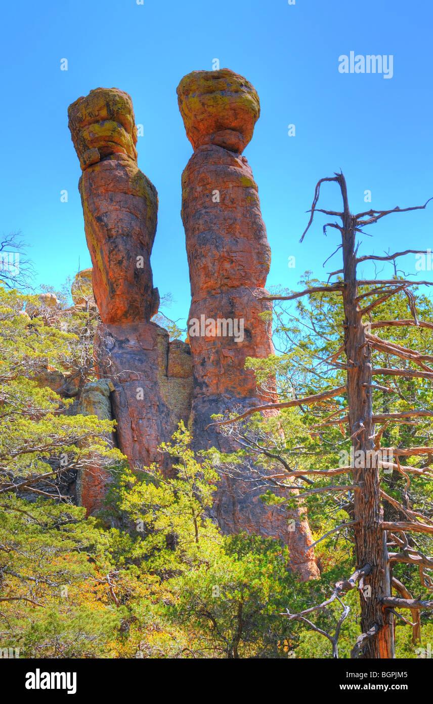 Ausgewogene Felsen Chiricahua Nationalmonument im südöstlichen Arizona Stockfoto