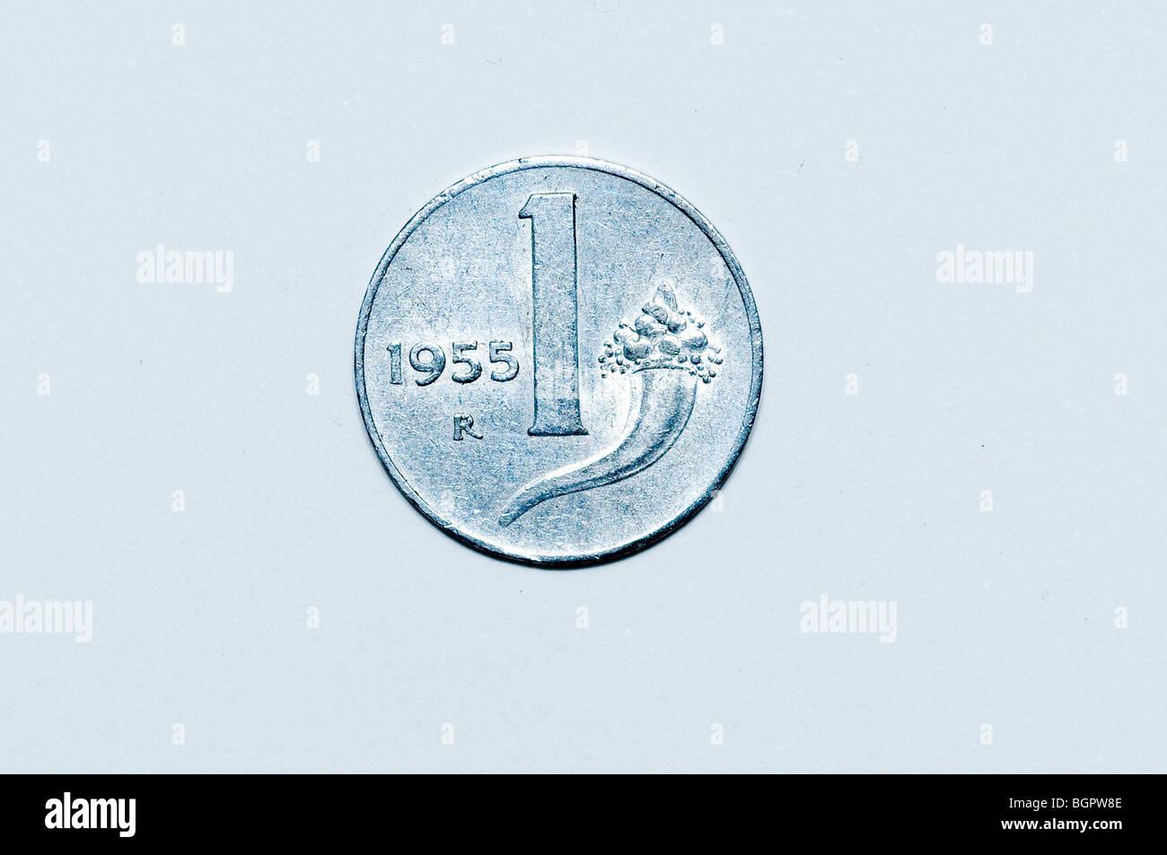 1 Italienische Lira Münze Stockfoto Bild 27547646 Alamy