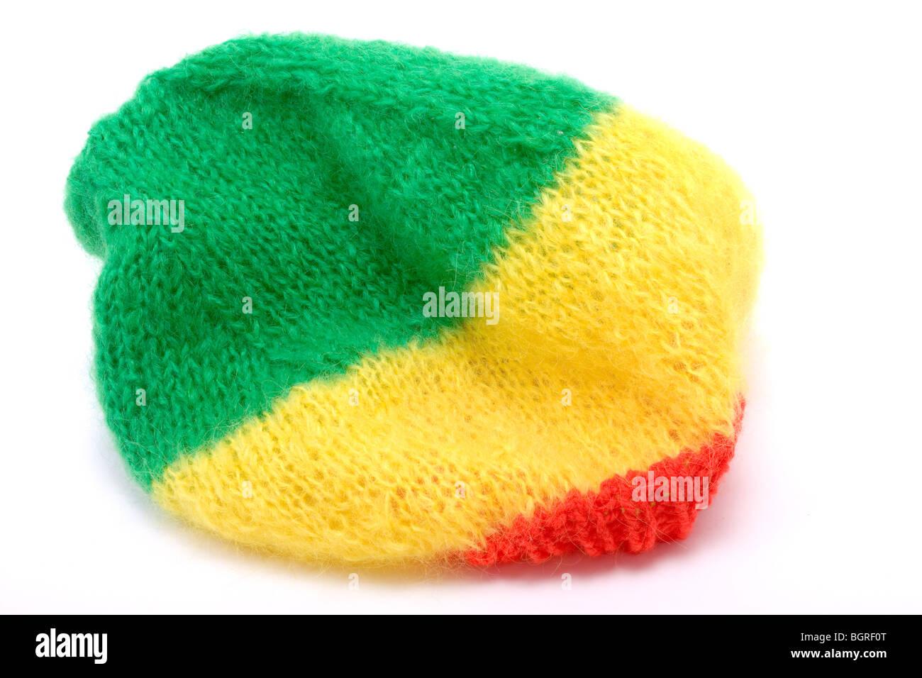 Gestrickte Wolle Mütze / Hut in der Rastafari-Farben Stockfoto, Bild ...
