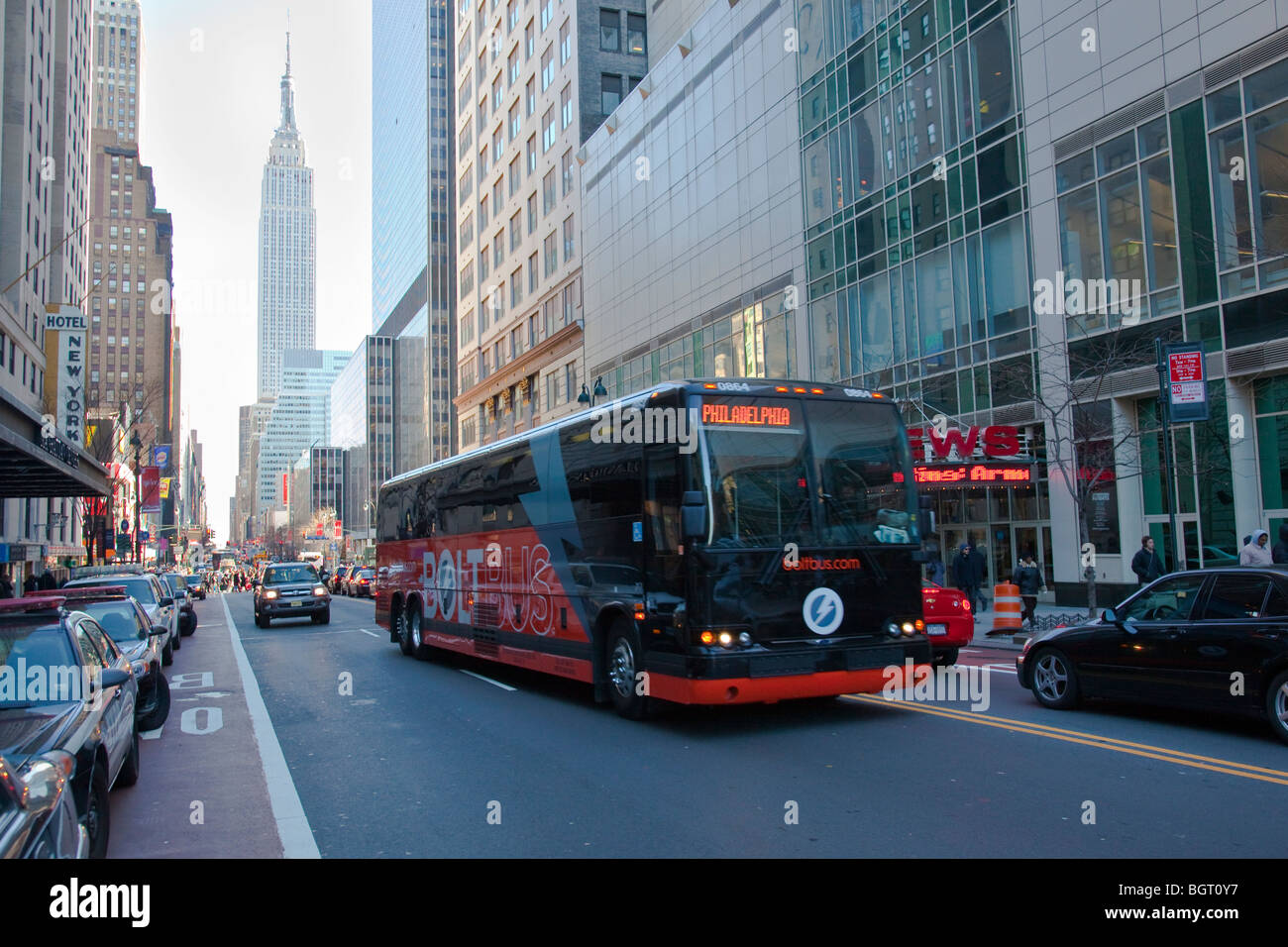 Bolzen Sie Bus Philidelphia - New York City in New York Stockbild