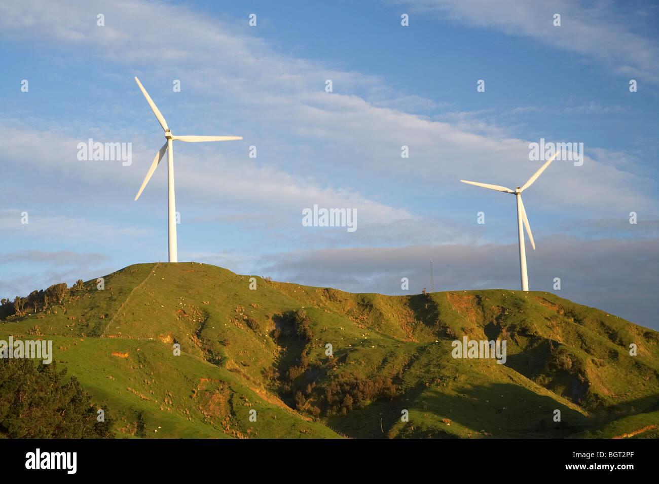 Te Apiti Wind Farm, Ruahine Ranges, Manawatu, Nordinsel, Neuseeland Stockbild