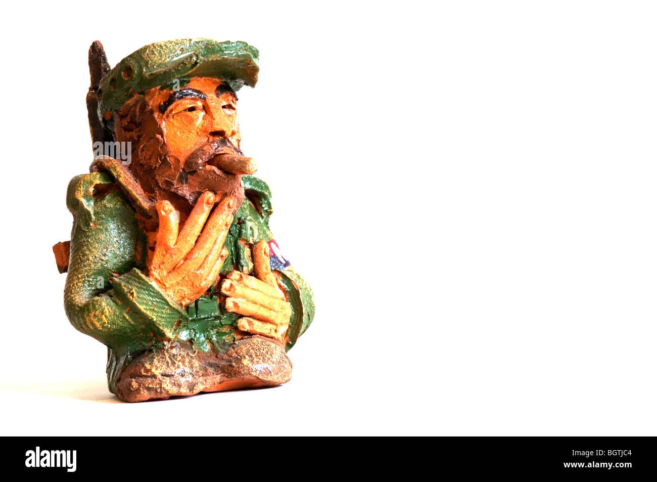 Tonfigur von Fidel Castro Ruz Stockbild