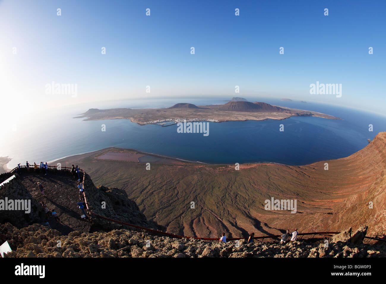 Insel La Graciosa, Blick vom Mirador del Rio, Lanzarote, Kanarische Inseln, Spanien, Europa Stockfoto