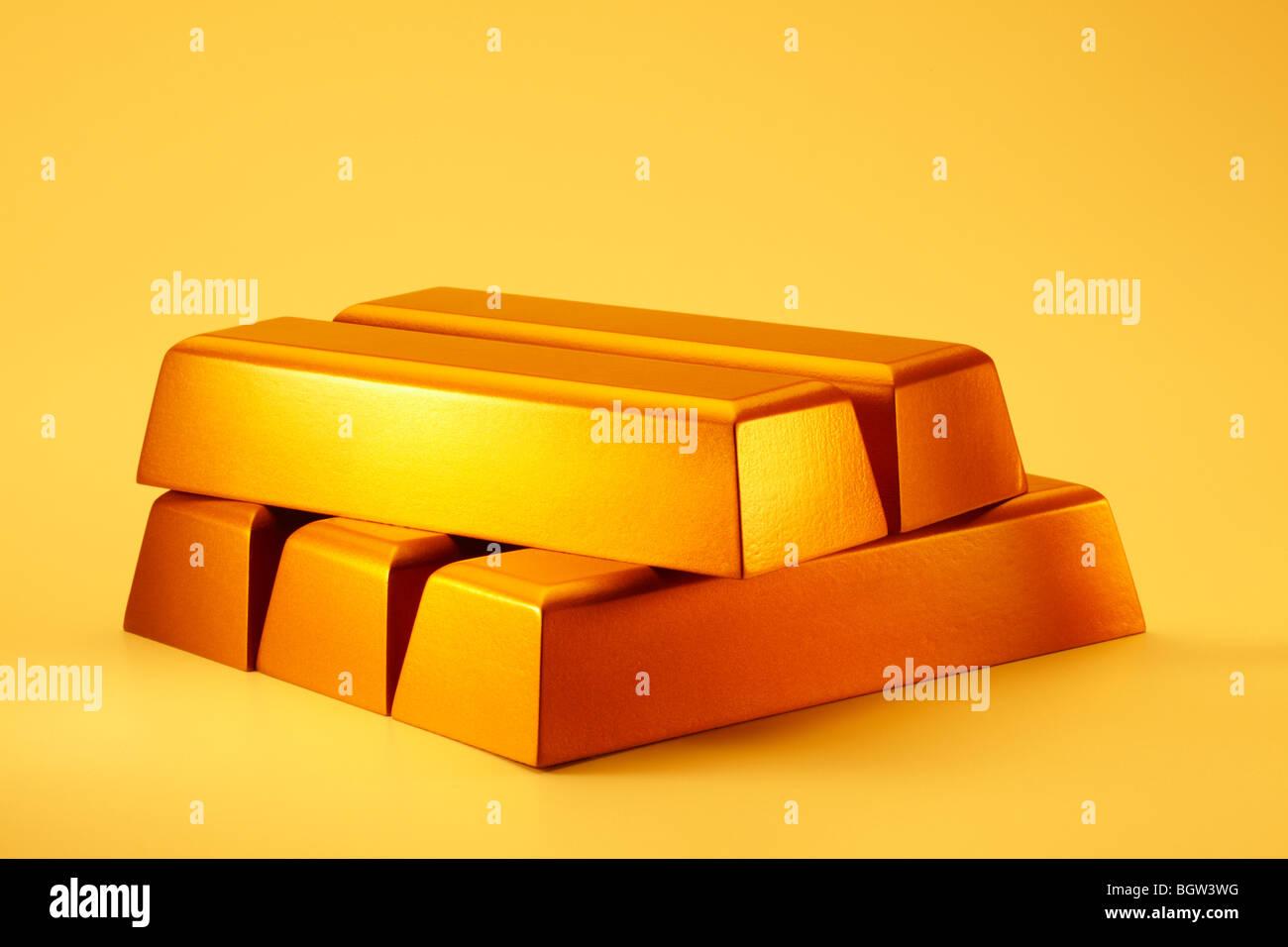 Gold Bars gestapelt Stockbild