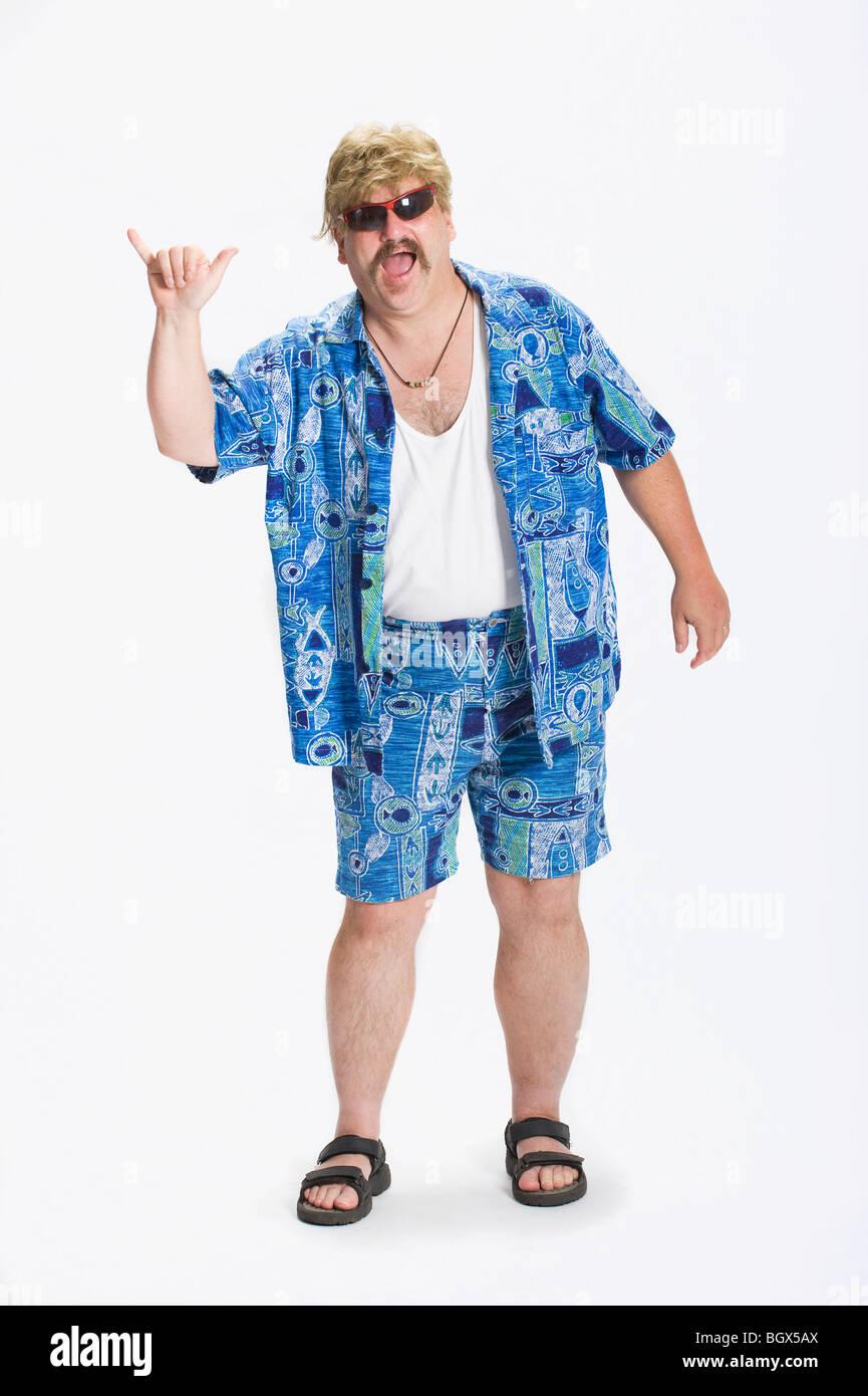 Mann Gekleidet In Der Kleidung Der 70er Jahre Stockfoto Bild