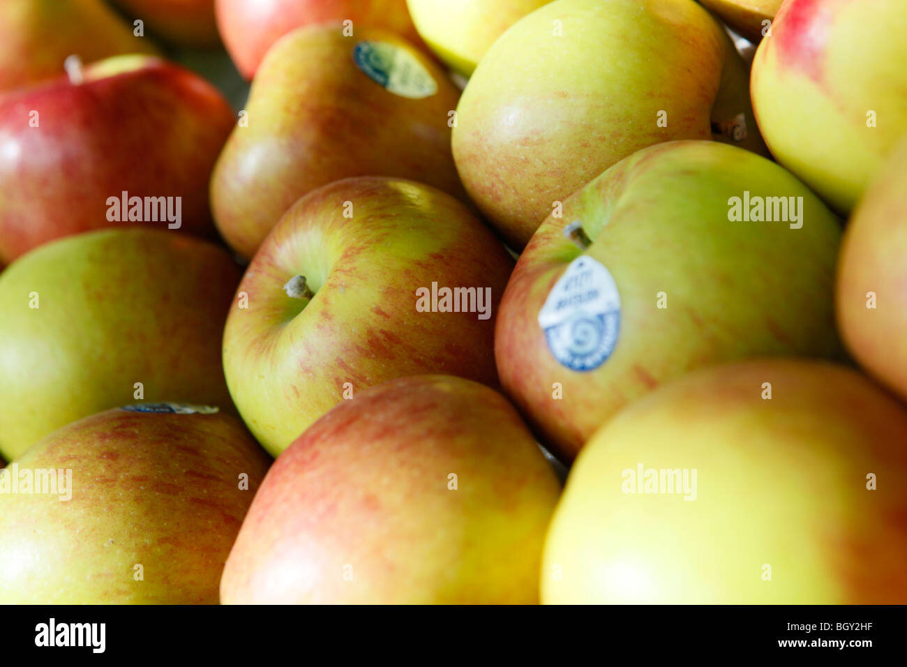Tablett mit Äpfeln in einem Supermarkt. Stockbild