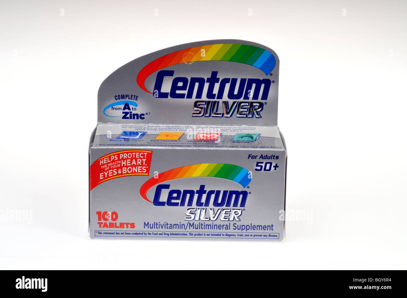 Centrum Silber Multivitamine in einer Verpackung auf weißem Hintergrund, Ausschnitt Stockbild