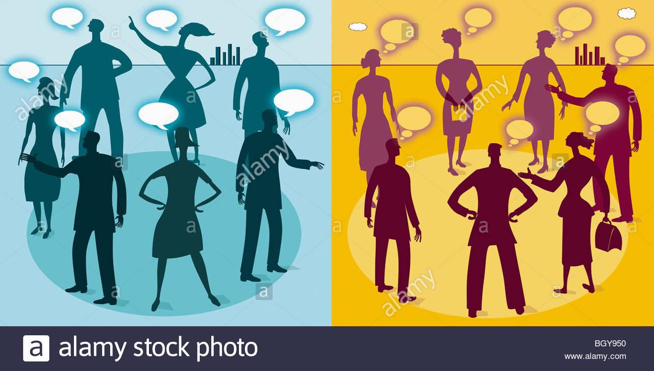 Business-Leute, die sprechen und denken Stockbild