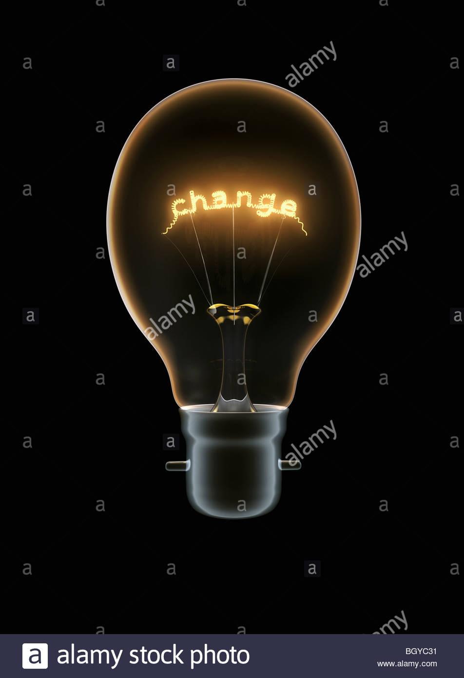 """Glühbirne mit Text """"Change"""" Stockbild"""