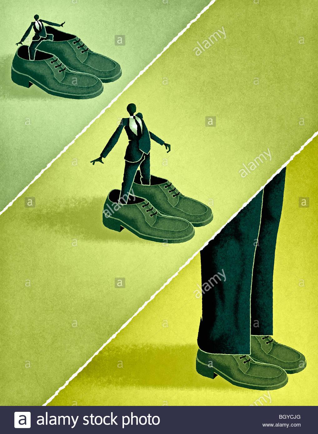 Geschäftsleute, die große Schuhe Stockbild