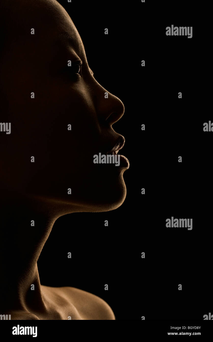 Frau verträumt wegsehen, Profil Stockbild