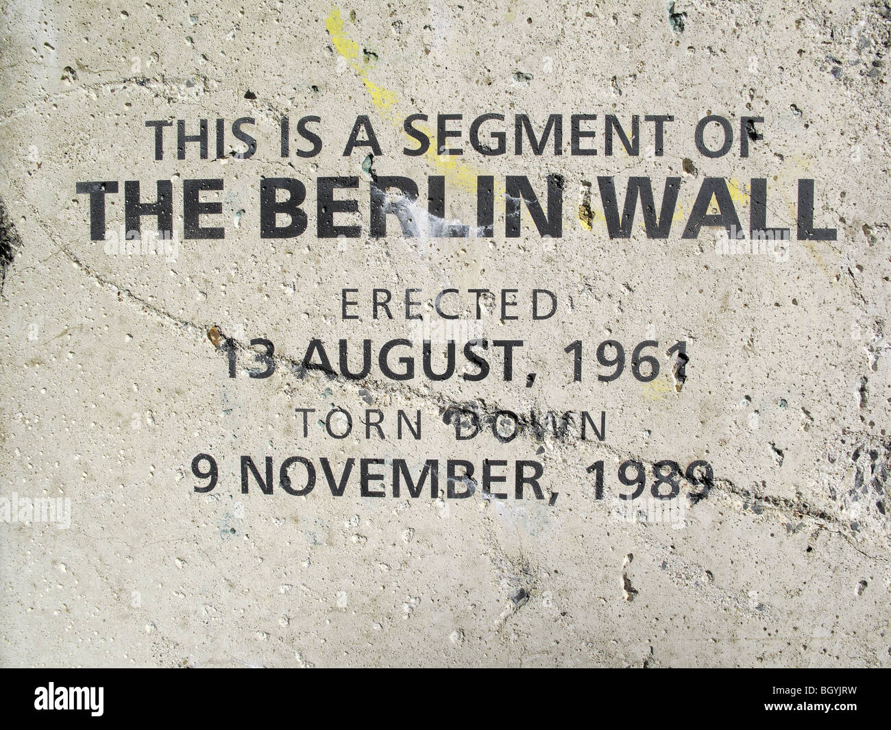 Beschriftung auf einem großen Abschnitt der Berliner Mauer errichtet als Anzeige Stockbild