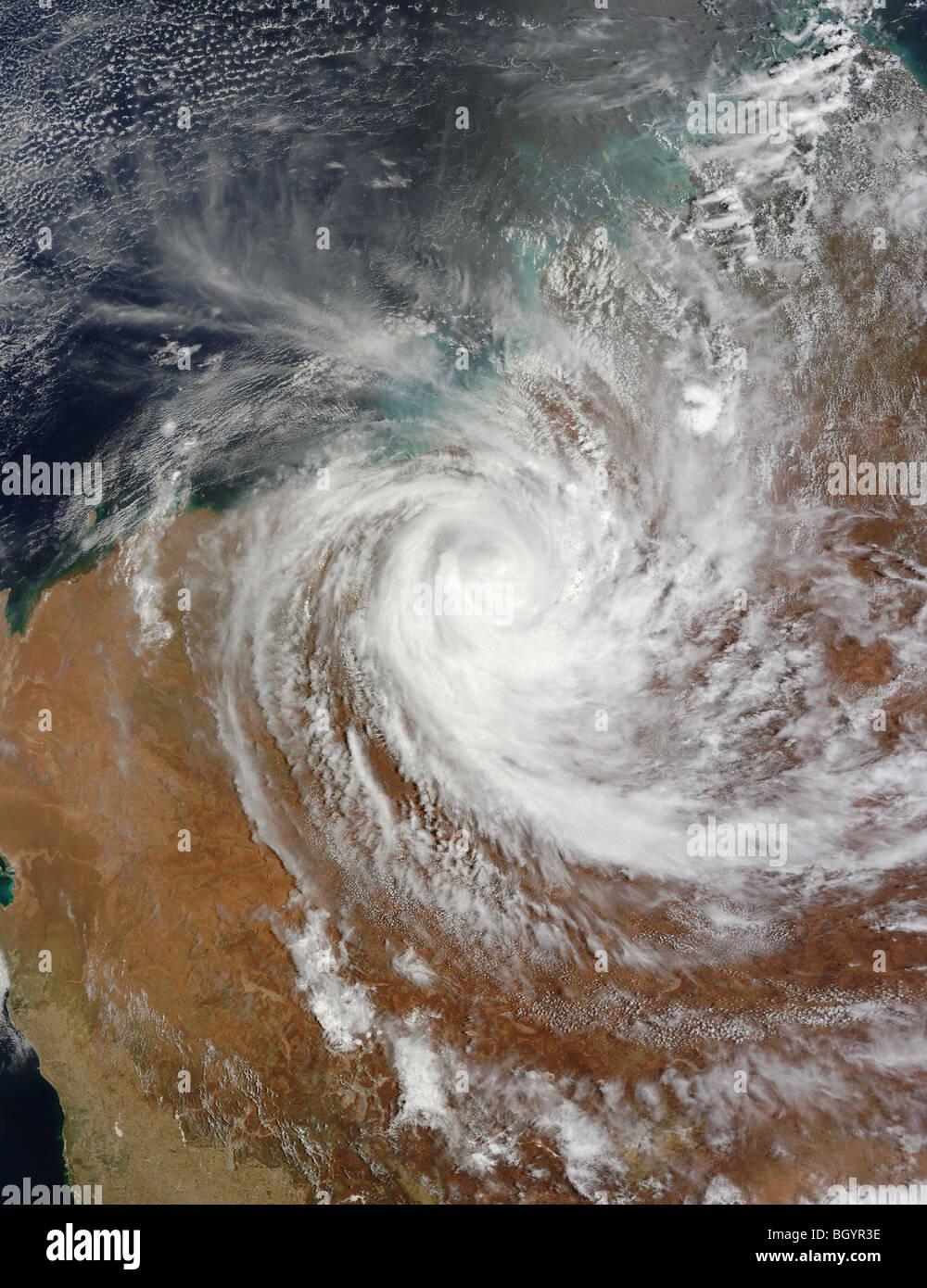 Zyklon Laurence über Australien, Satellitenbild der NASA Stockbild