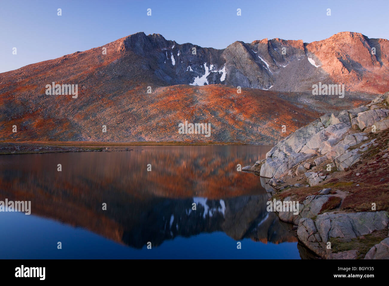 Summit Lake, Mount Evans Erholungsgebiet, Arapaho National Forest, Colorado. Stockbild