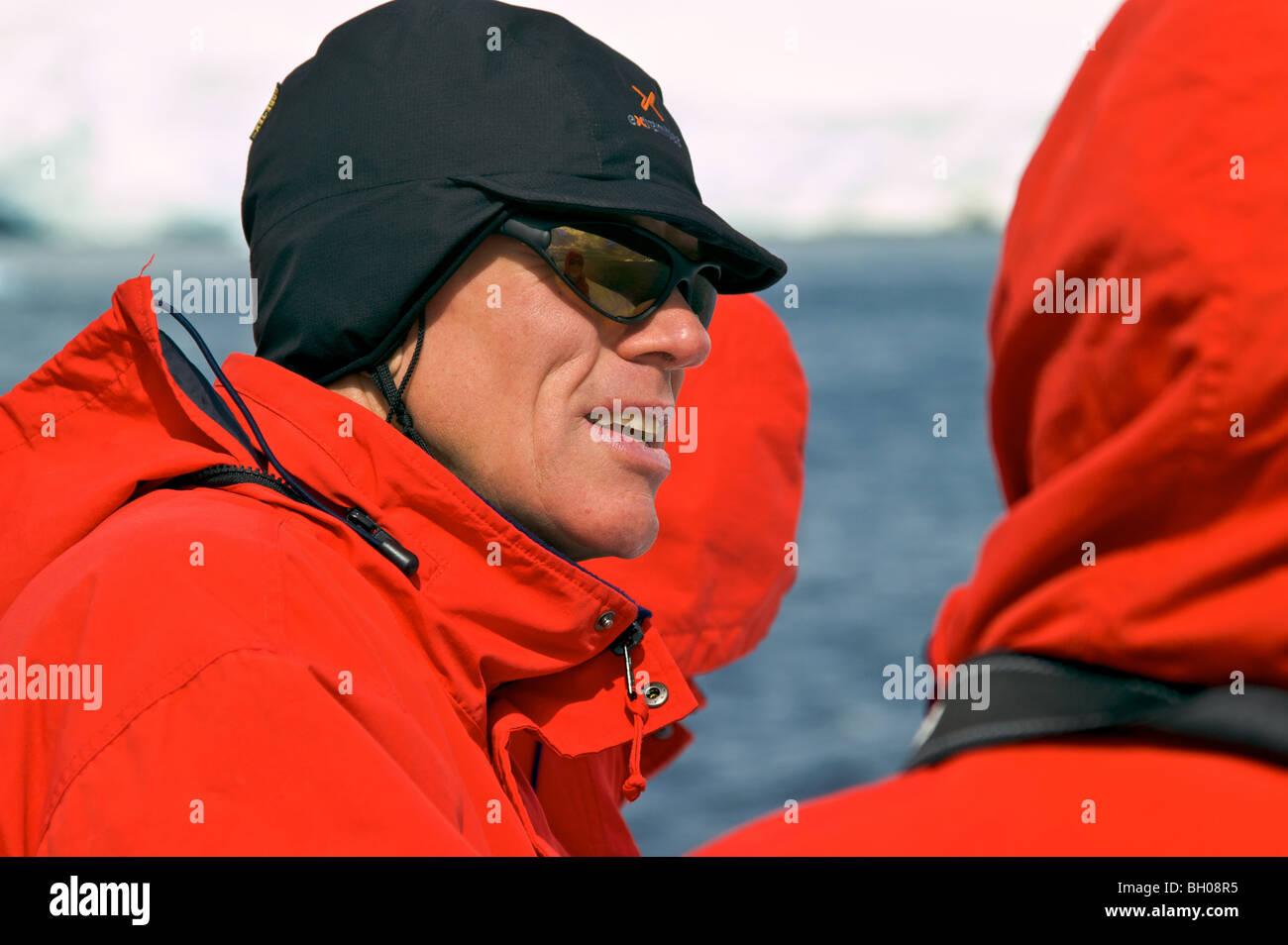 Forscher und Abenteurer Sir Peter Hillary in der Antarktis. Stockbild