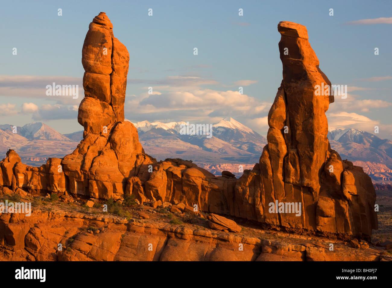 Marschieren Sie Männer Bildung, Klondike Bluffs Bereich Arches National Park in der Nähe von Moab, Utah. Stockfoto