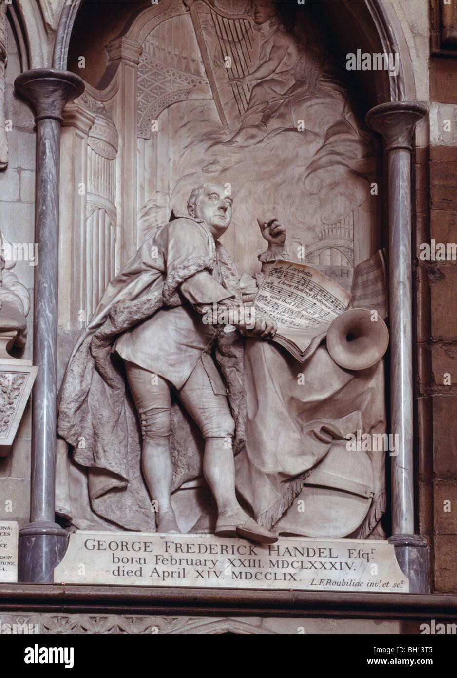 Partitur des Messias halten Händel-Denkmal entworfen & geschnitzt von l.f. genannt Westminster Abbey Stockbild