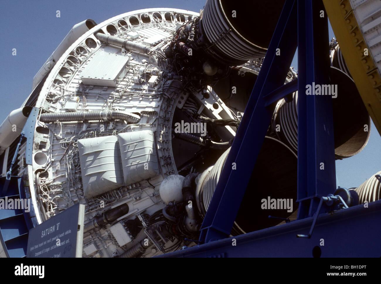 Saturn V Rakete Touristenattraktion. Kodachromes von Florida Sehenswürdigkeiten in den 1980er Jahren. Stockbild