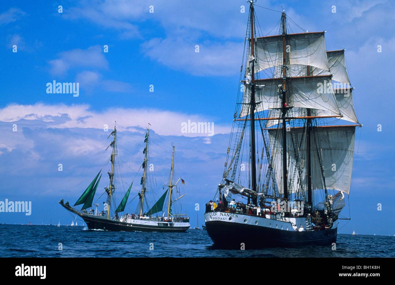 Segelschiffe auf dem meer  Dreimaster, Segelschiffe auf dem Meer, Kieler Woche, Kiel, Schleswig ...