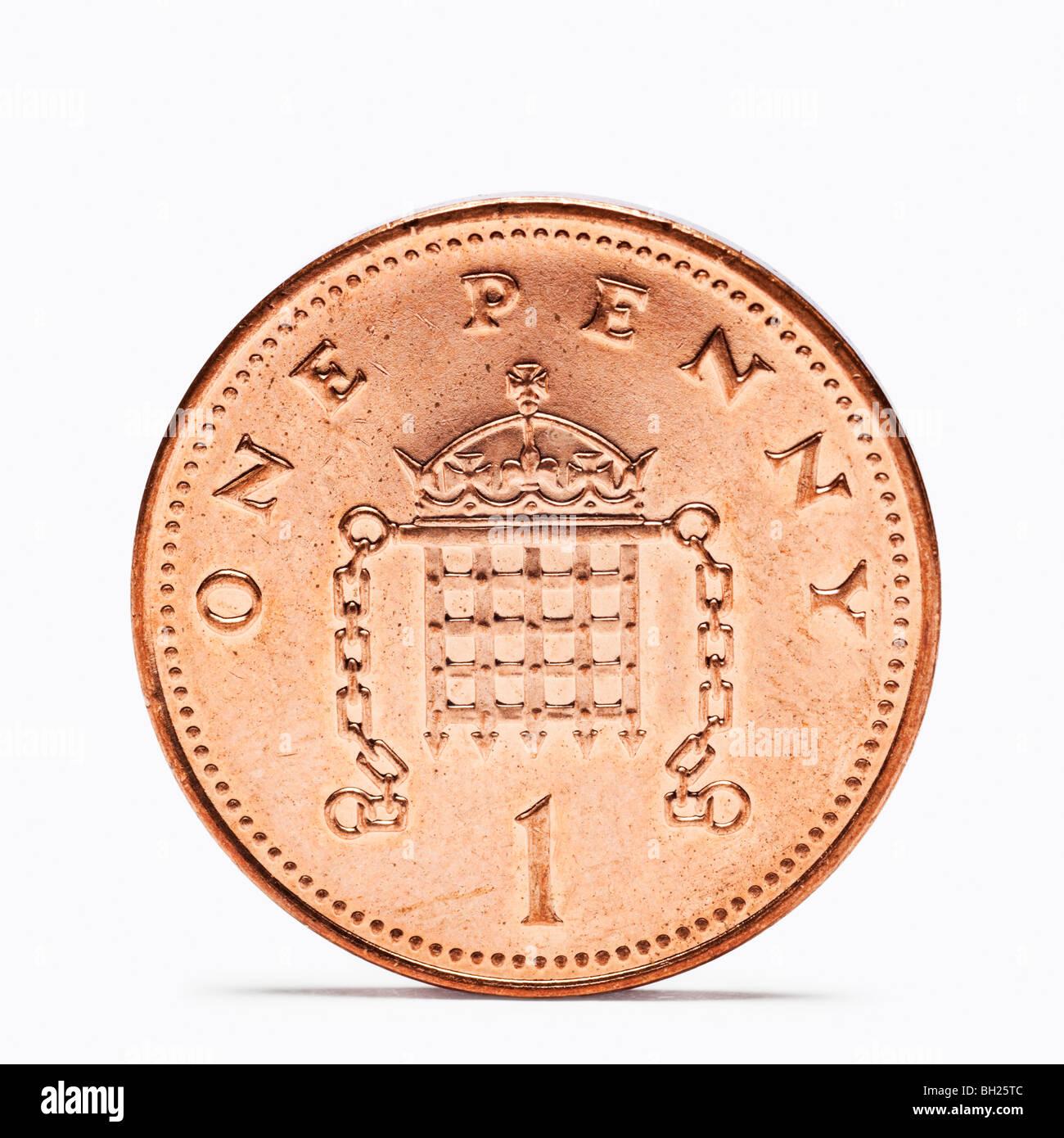 Britische One Penny Münze wieder anzeigen Stockbild