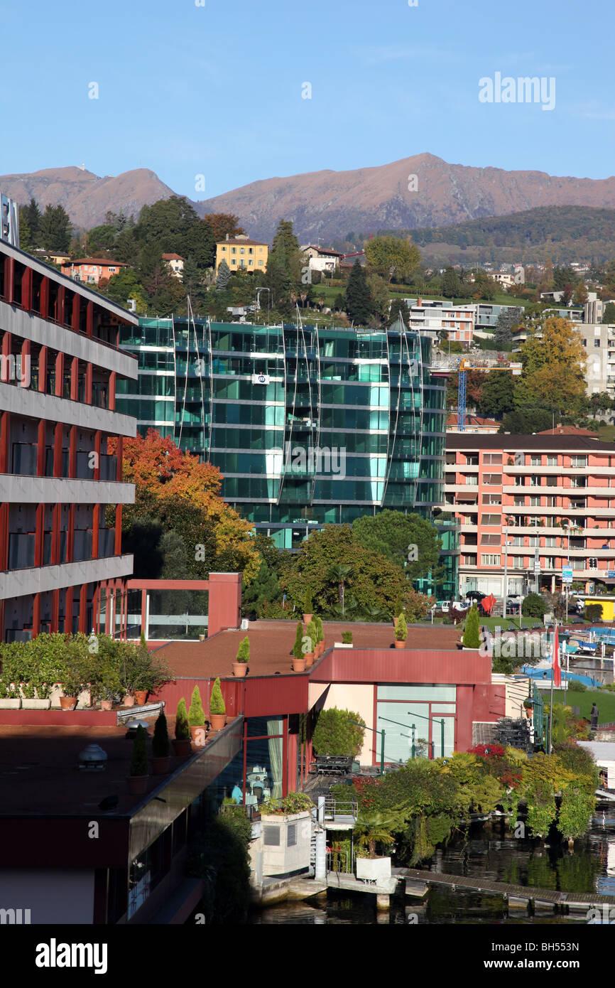 zeitgenössische Architektur, Lugano, Schweiz Stockbild