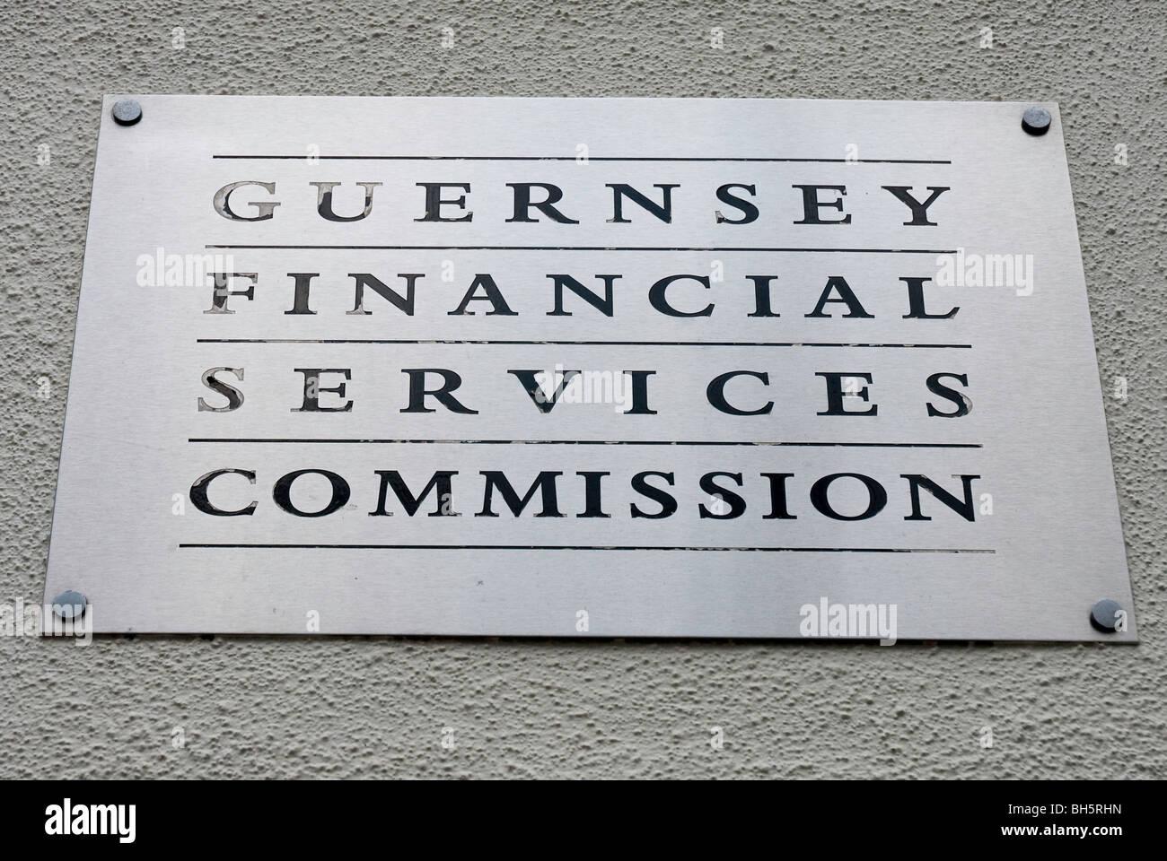 Guernsey Financial Services Commission Zeichen Stockbild