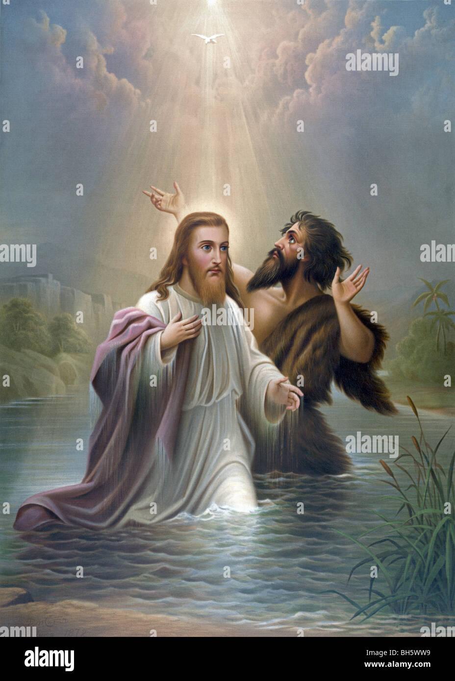 """Print c1873 mit dem Titel """"Taufe Christi"""" und zeigt Jesus ..."""