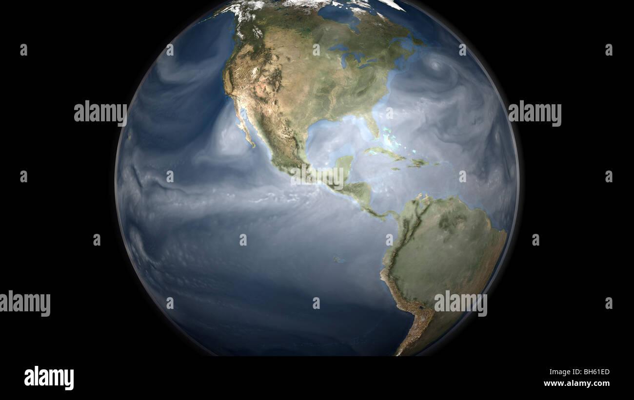 Erde-Gesamtansicht mit Wasserdampf über Amerika. Stockbild