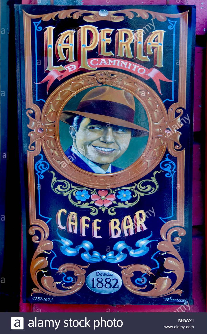 Carlos Gardel Tango Buenos Aires Argentinien La Boca El Caminito bar Pub Cafe Restaurant city Stockbild