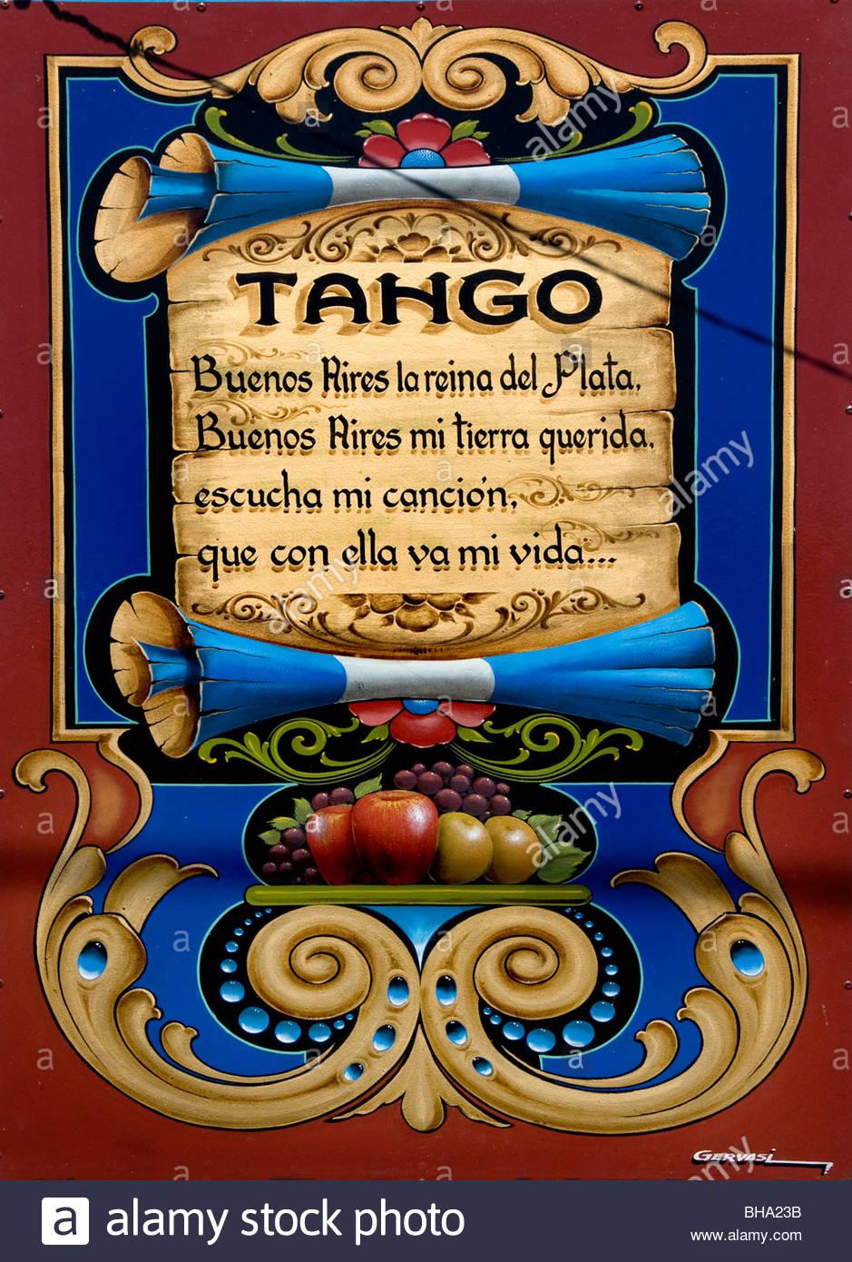 Carlos Gardel Tango tanzen tanzen Buenos Aires Argentinien Zeichen Billboard Stockbild