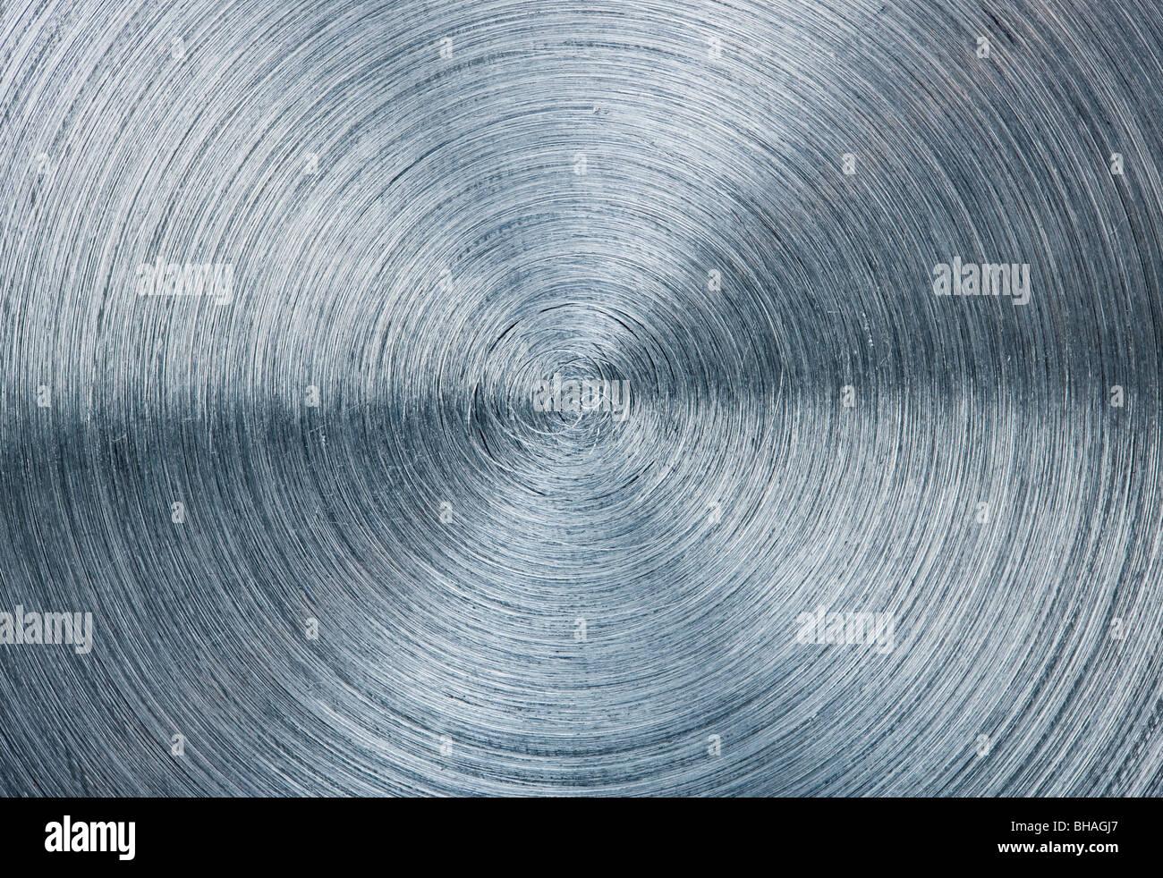 Makroaufnahme einer polierten Metalloberfläche Stockbild