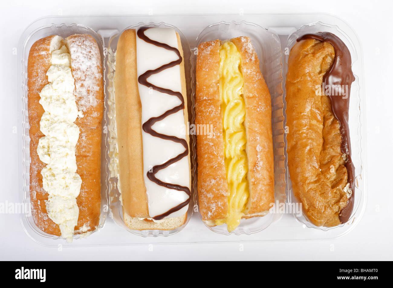 Auswahl an täglichen Sahne Kuchen Stockfoto