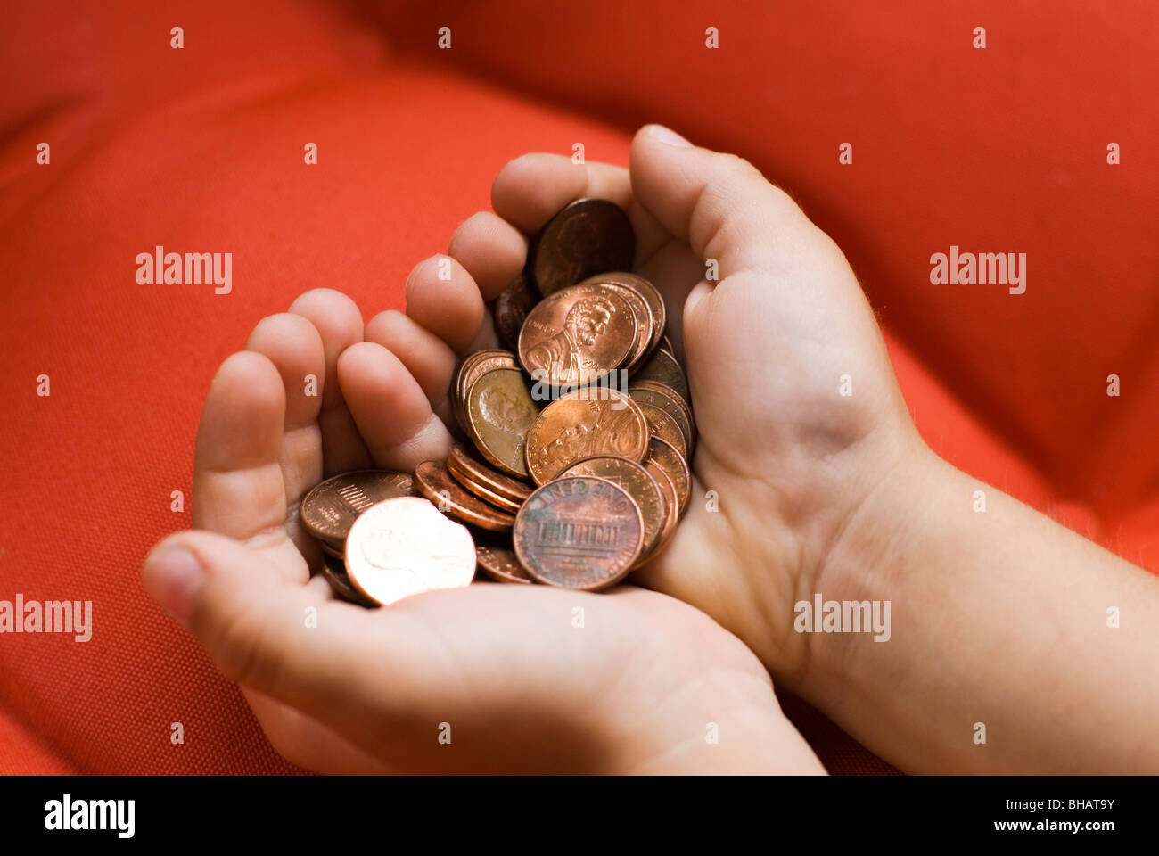 Handvoll Münzen Stockbild