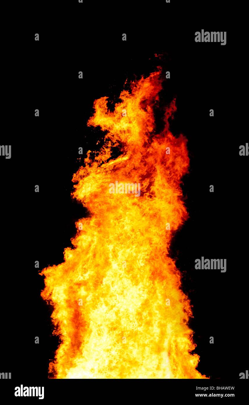 Intensive Feuersäule Stockbild