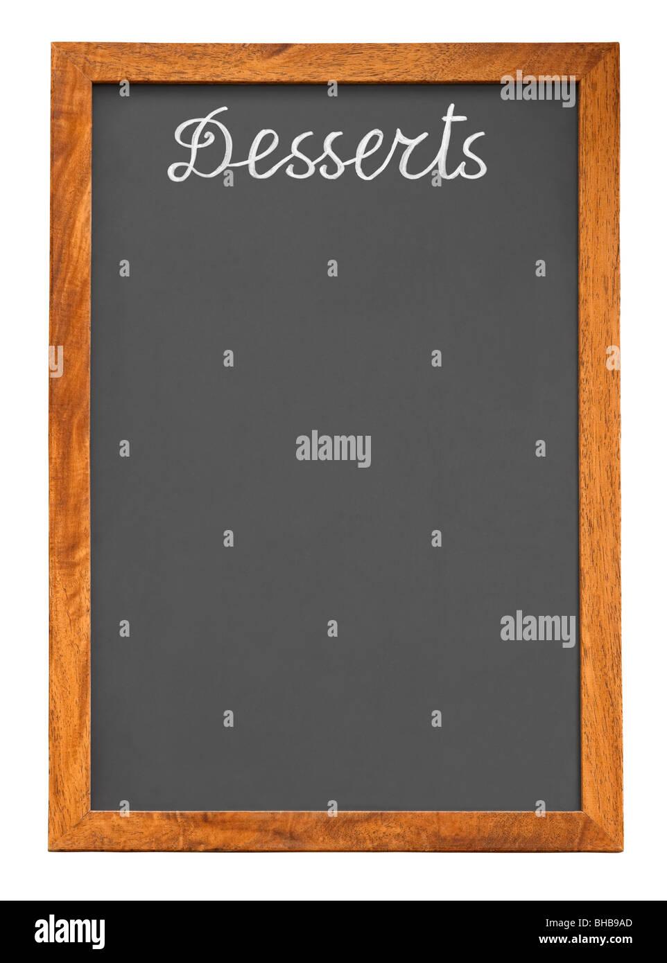 Menü-Tafel für Desserts isoliert auf weißem Hintergrund Stockbild