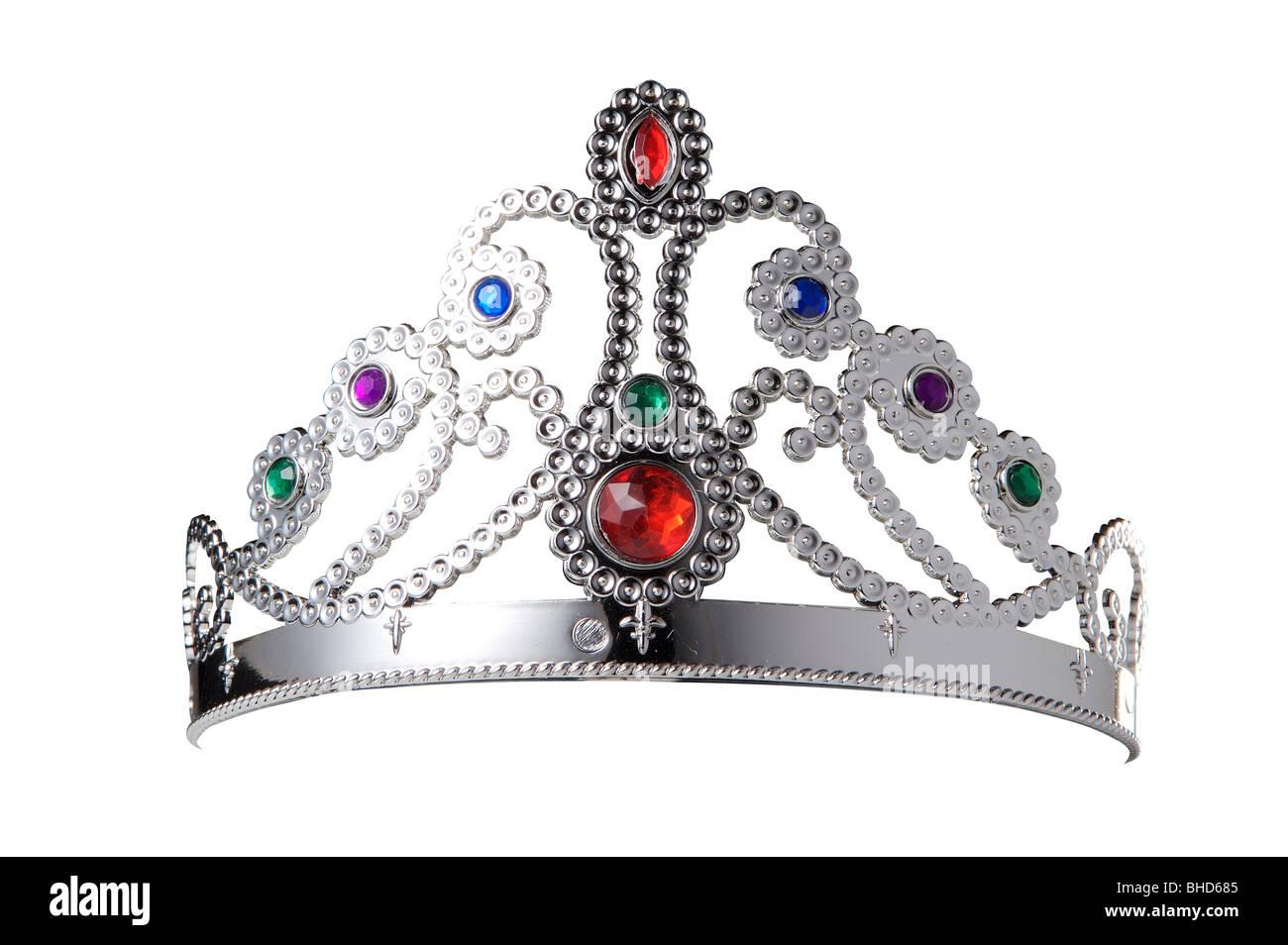 Tiara, Krone, Schmuck, Ausschnitt, Prinzessin, verkleiden, Edelsteine, Silber Stockbild