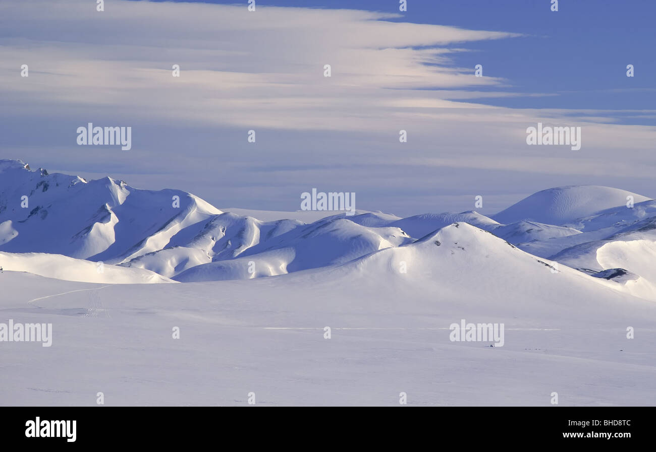 Winter, Mt.  Bramur in Landmannalaugar, Island Stockbild