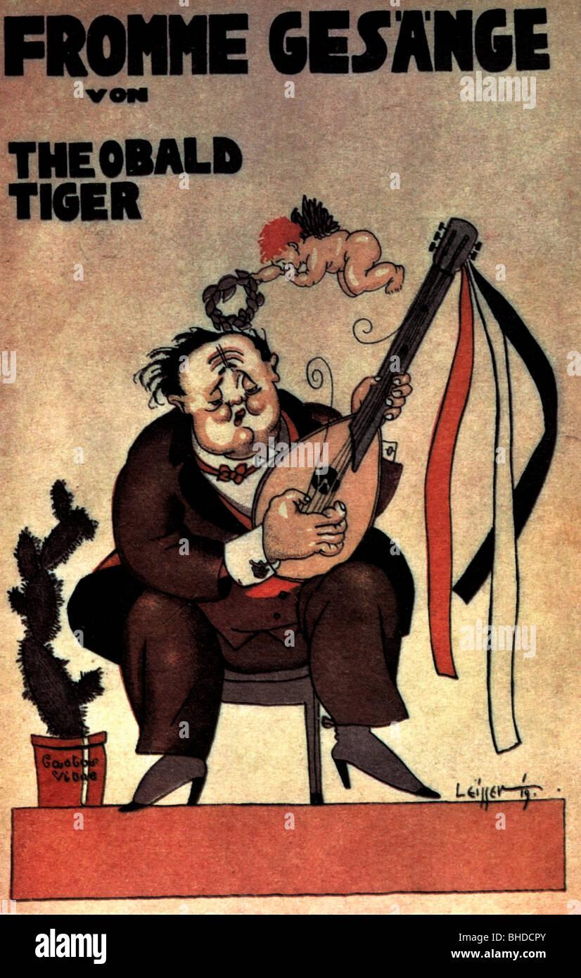 Tucholsky, Kurt, 9.1.1890 - 21.12.1935, deutscher Autor/Schriftsteller, Publizist, Werke, Zeichnung von Theodor Stockbild