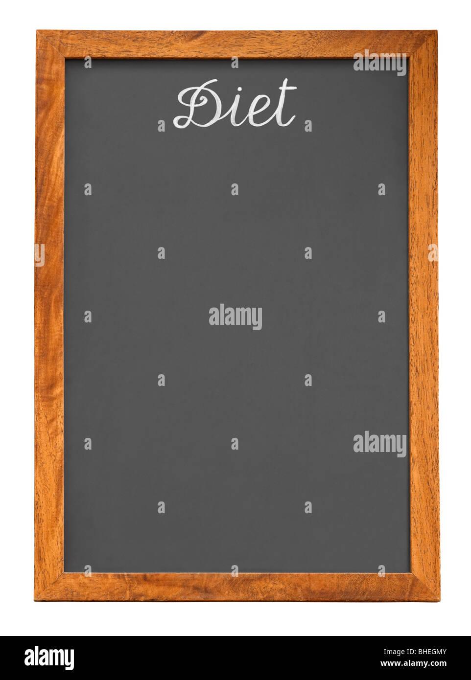 Menü-Tafel für Diät-Lebensmittel-Liste isoliert auf weißem Hintergrund mit Beschneidungspfad Stockbild