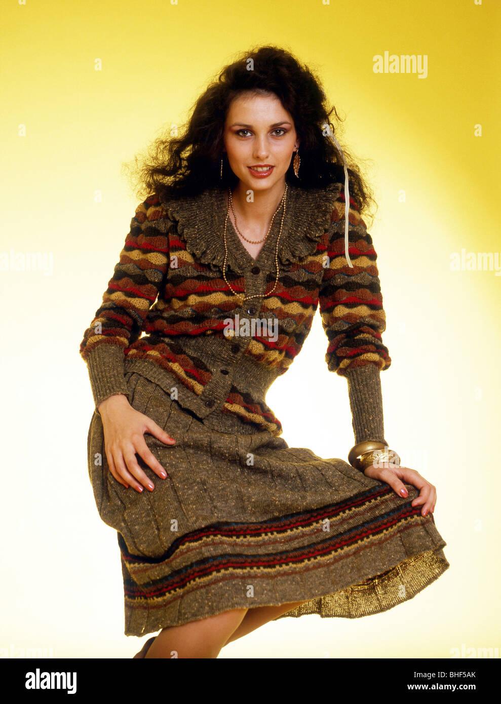 Modell Anne Marie Woodhall Modellierung Strickwaren 1980 Stockbild