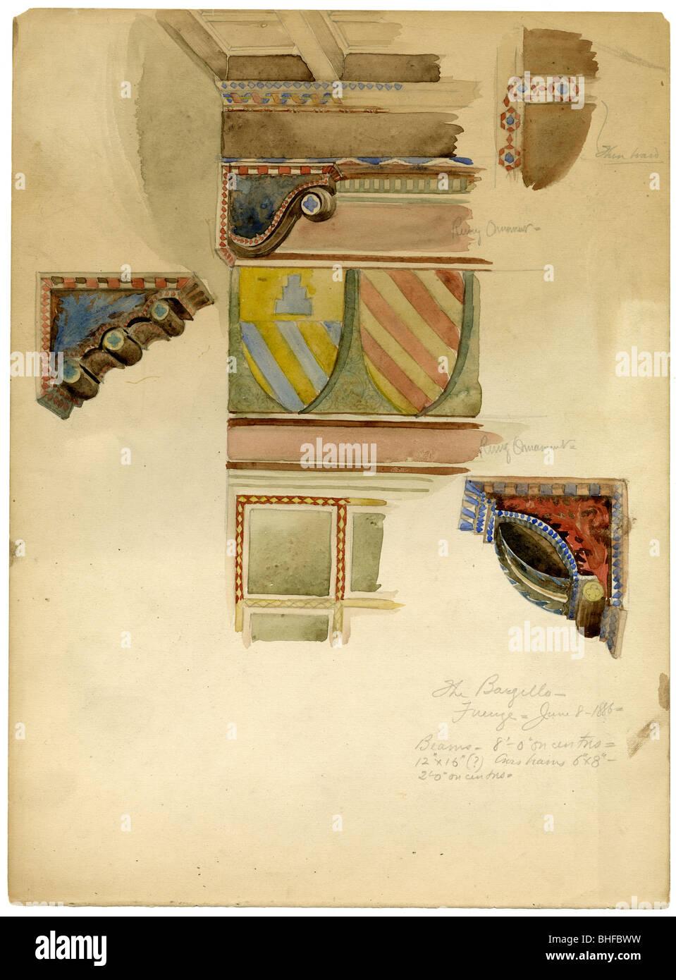 Datiert 1886 Architekturstudie des Bargello Kunstmuseums, auch bekannt als Bargello Palast oder Palazzo del Popolo Stockbild