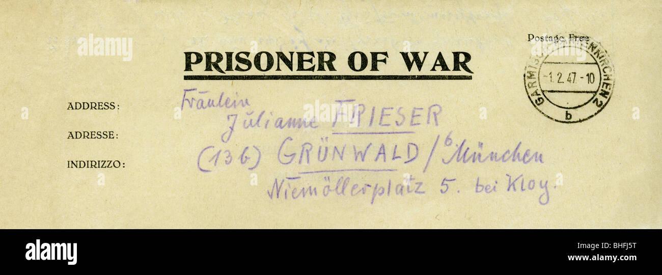 Nachkriegszeit Kriegsgefangene Brief Einer Deutschen Gefangenen
