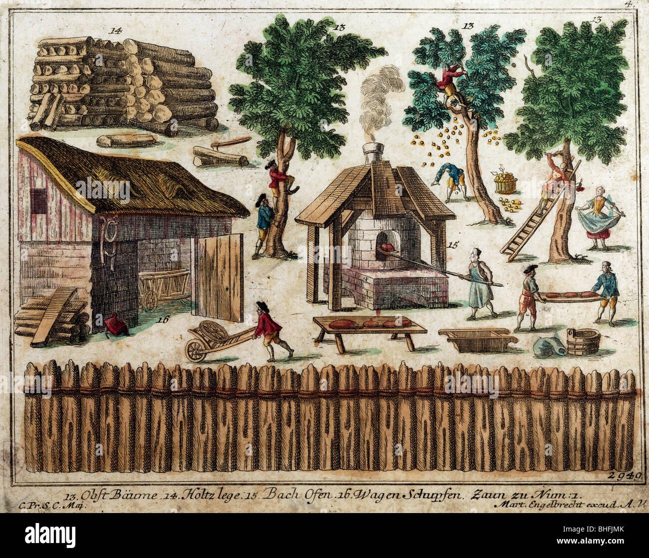 Literatur, Bilderbuch, Obstbäumen, Wald Camp, Bäckerei, Rad, Zaun, Collage, farbige Kupferstiche von Martin Stockbild