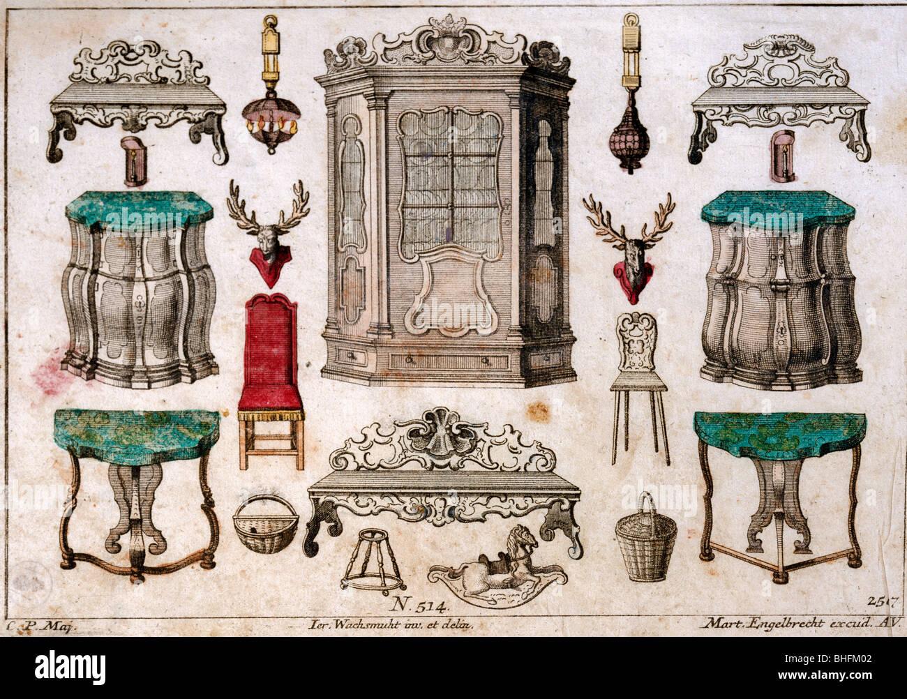 Möbel, Möbel Esszimmer, Rokoko Papier Collage, farbige Kupferstich von Martin Engelbrecht, Deutschland, Stockbild