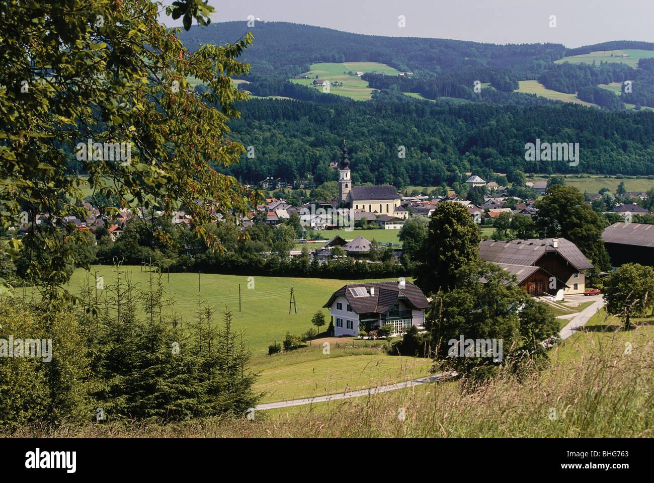 Geographie/Reisen, Österreich, Salzburg (Bundesland), Thalgau, Blick auf die Stadt/Stadtansichten, Blick auf Stockbild