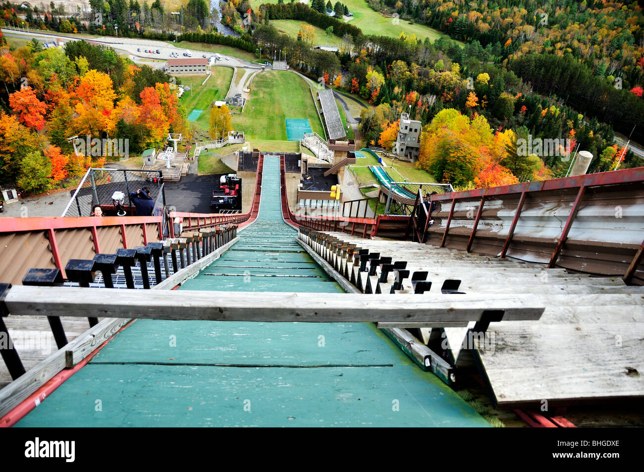 Ein Blick von der Olympiaschanze Tor in Lake Placid, New York, USA. Stockbild