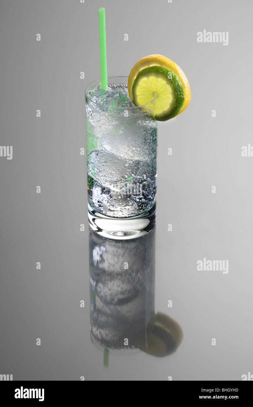 Wodka oder Gin & Tonic Mixgetränk mit Zitrone und Limette Slice ...