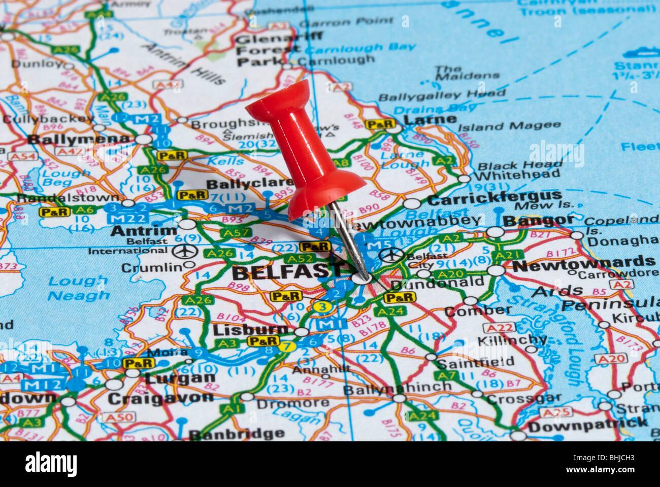 Belfast Northern Ireland Location Map Stockfotos & Belfast ...