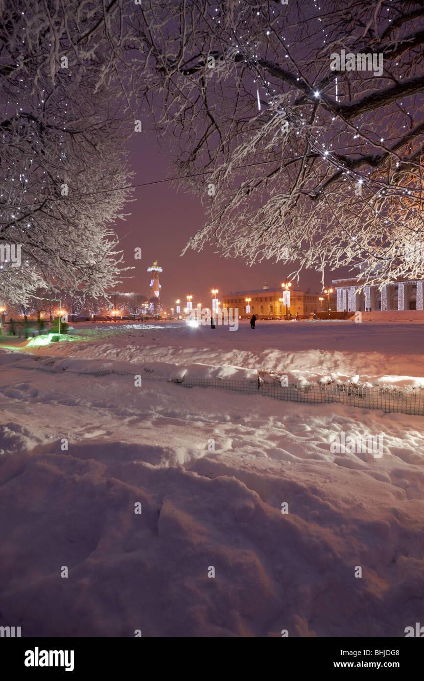 Neujahr-Beleuchtung bei den Spieß der Wassiljewski-Insel. Stockbild